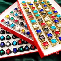 Vogue stone 30Pcs Crystal Glass band Rings Retro Bohemia Style Big Size mixed Golden Silvery Black Metal Acrylic men and Women Jewelry Party Gift