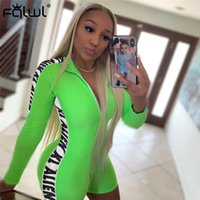 FQLWL Letter Print Fitness Sexy Bodycon Jumpsuit Mujeres Short Playsuit Manga larga Skinny Summer Rompers Womens Jumpsuit Mujer