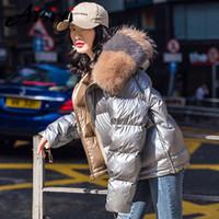 Kadınlar kalınlaşır için Aisiyi Kadınlar Kış Parkas Kürk Yaka Isınma Aşağı Ceket Kadın Aşağı Parkas Duck Beyaz Isınma