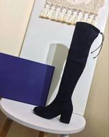 Mode Kniestiefel Damen arbeiten Kniestiefel mit Lederriemen 2.5-9cm Absatzschuhe Weihnachtsgeschenke mit Box EU34-EU41