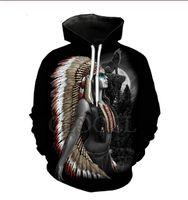 Il nuovo modo raffredda Felpa con cappuccio Uomini Donne 3D Stampa lupo animali e gli indiani di stile di modo caldo di Streetwear a maniche lunghe Abbigliamento TZ0148