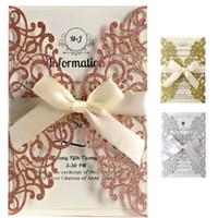 Rose Gold Glitter Laser-Schnitt-Einladungs-Karten mit Bändern Hochzeit Bridal Shower Engagement Geburtstags-Party-Abschluss-XD21513