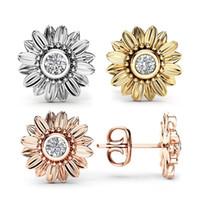 Мода ювелирные изделия кристалл серьги для женщин Bijoux Золото Серебро Цвет Sunflower Заявление Серьга New
