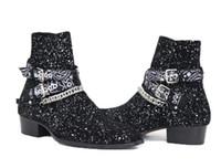 أحذية حار بيع الرجل عرض الأزياء وايت تسخير Chelse أحذية الجلد المدبوغ المنديل SLP باندانا الشريط الإبزيم أحذية الكاحل كاني ويست