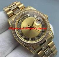 Reloj de lujo 8 Estilo Mediano 18K Oro Amarillo Quickset Full Pave Diamonds Dial 36mm Relojes de pulsera automáticos para hombre de la moda