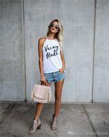 Lettre Vacay MODE Imprimer Mesdames été Top Beaux condole Ceinture bonbons couleur Loose Women Summer T-shirts