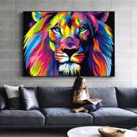 Farbe Lion Riesiges Ölgemälde auf Leinwand Dekoration Handgemalte HD Print Wandkunstbilder Anpassung ist akzeptabel 21051312