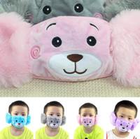 Populaire 2 en 1 oreille masques de protection ours en peluche visage broderie enfants bouche Masque Masques anti-poussière visage Fit Kids Party Cadeaux