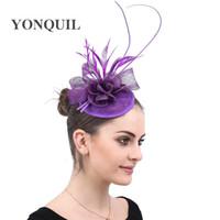 레이디 퍼플 모자를 쓰고 Sinamay 매혹적인 모자 여성 손수 꽃 교회 모자 칵테일 모자 저녁 파티 웨딩을위한 머리 무료 배송