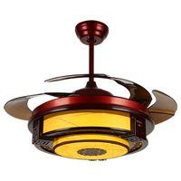 Ventilateur de plafond lampe LED 108cm 42 INCH Télécommande Blanc jaune Gradateur de ventilateur de plafond traditionnel 85-265V