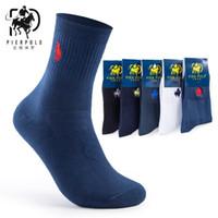 높은 품질 패션 5 쌍 / 많은 브랜드 부두 폴로 캐주얼면 양말 비즈니스 자수 남성 양말 제조 업체 도매