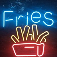 FRIES Neon Sign Fast Food Restaurant Holiday Display Pubblicità Decorazione a parete Real Glass Light Metal Frame 17 '' 20 '' 24 '' 30 ''