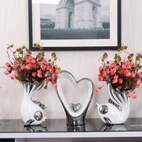 Kreative küss fisch blume vase dekoration hochzeitshohe dekorative keramik vase einrichtung für wohnzimmer fisch herzform handwerk ornament