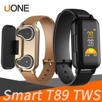 T89 Smart Bracelet TWS Bluetooth Headphone Fitness tracker Cardiofrequenzimetro Smart Wristband Sport Watch per Android e iOS con pacchetto