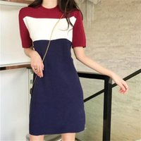Summer new product college style loose contrast color sleeve...