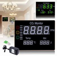 Freeshipping Digital Wall Mounted 0-9999PPM Dióxido de Carbono CO2 Medidor de Gás Analyzer Detector de Temperatura Testador de Umidade do Ar Monitor de Qualidade do Ar