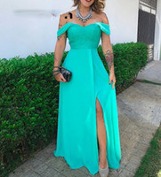 Vestidos de fiesta largos de color turquesa Sweetheart A-line Side Split Plus Size Lace Chiffon Vestido de noche robe de soiree Cheap