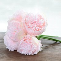 Artificial 5 Heads Peony Flower Plants Decorative Floral Bou...