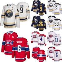 버팔로 세이버 저지 잭 Eichel (C) Rasmus Dahlin Jeff Skinner 몬트리올 Canadiens Shea Weber (C) 캐리 가격 Max Domi Hockey Jerseys