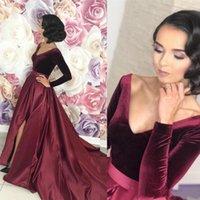 Vestiti sexy Split Borgogna arabi Prom 2019 manica lunga linea formale Occasioni speciali Evening Gown vestidos de fiesta de noche