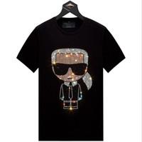 Erkek Karikatür Rhinestones Tişörtlü 2020 Yaz Erkek Kısa Kollu Moda Man O Boyun Sıcak matkap Tişört Artı boyutu 6XL w522