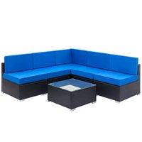 Familien-Sofa-Kombination Garten-Links-Weberei Rattan Set mit 1 stücke Ecke 4 stücke Einzelne Sofas 1 Stück Couchtisch