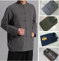 El envío libre los hombres rana china camisa de lino botón de camisa de la tapa del ala Tai Chi Shaolin ejercicios chun