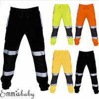 Bas Hommes Slim Fit Skinny jogging Joggers Sweatpants Pantalon d'entraînement réfléchissant fluorescent rayures de sécurité vêtements de travail