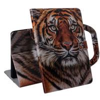 Caja de la tableta para la lengüeta Un 10.1 pulgadas 2019 T510 T515 manija del tirón del soporte de la cubierta billetera de cuero de color de dibujo del león del tigre