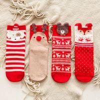 Diagrama de dibujos animados Sock de Navidad otoño e invierno algodón calcetines rojo calcetines de las mujeres 3style free shiopping