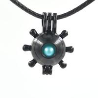 Siyah Moda aşk dilek inci mücevher boncuk madalyon kafesleri Kolye, DIY Inci Kolye charm kolye montaj