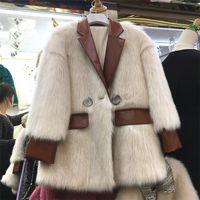 2020 Новый дизайн женщины PU кожаного пэчворк блейзер костюм воротника длинный рукав теплых загустители искусственной шерсть лисицы роскошь средней длиной пальто casacos