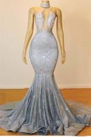 Gümüş Seksi Mermaid Uzun Gelinlik Modelleri Halter Boncuk Kristaller Illusion Üst Backless Siyah Kızlar Akşam Parti Abiye 2K19