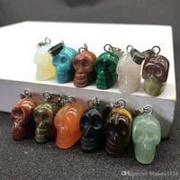 12pcs / set pierre naturelle pendentif crâne colliers avec des chaînes de cuir cristal agate turquoise opale pendentifs collier bijoux accessoires