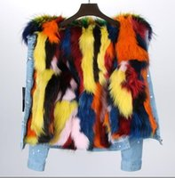 New colors Rainbow fox furs liner & Raccoon fur collar for w...