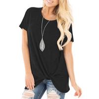 Manica corta Tuniche per le donne Comfy Casual Twist laterale annodata Tops T camicetta tunica della signora l'Summer Loose Fit Camicie