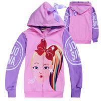 jojo Siwa ropa niños cremallera sudaderas primavera y el otoño 4-12t Niños Chicas sudaderas con capucha chaqueta de abrigo de los niños Ropa para niñas 110-150cm FSS361