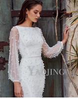 2020 유럽 디자인 패션 여성의 새로운 거즈 패치 워크 긴 슬림 허리 연필 무릎 길이의 드레스 플러스 사이즈 SML을 구슬 장식 슬리브
