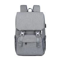 Bezi Çanta Sırt Çantası Büyük İşlevli Seyahat Sırt Çantası Analık Bebek Nappy Değiştirme Çantaları USB Şarj Portu ile Su Geçirmez ve Şık