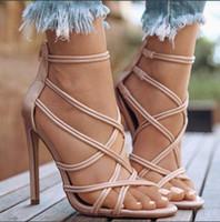 2020 nuove scarpe di quattro stagioni delle donne super-tacco alto (sopra 11cm) la bocca poco profonda, cinturini incrociati fisheye cavi incrociati cinghia sottile Sandali con tacco