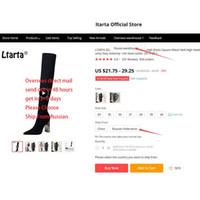 LTARTA 2020 lana botas de tacón mujer botas largas de la rodilla botas altas de tacón alto cuadrado del metal puntiagudo Sexy elasticidad delgadas. DS-3128-1