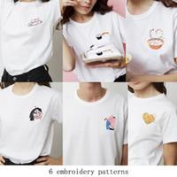 Donne Keur Paris T-shirt T-shirt Tops Amanti Sushis Love Donut Cartoon Interesse Ricamo manica corta Temperamento di alta qualità Taglia S-L