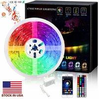 Super Bright 5m 5630 5050 SMD 30LED m Bande LED Non étanche Flexiable 150LED Adaptateur RGB 12V + 44Key télécommande RF + APP Bluetooth