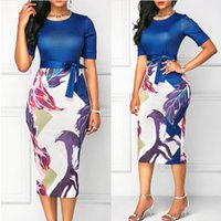 Patchwork Slim Print Womens Dress Casual New Fashion Folral ...