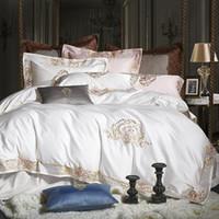 1000TC Egipcio Algodón Royal Luxury Layuring Set Blanco King Rey Tamaño Bordado Bordado Set Edredón Cubierta de edredón Conjunto de hoja de cama Set Parrure De Lit