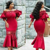 2020 섹시한 아프리카 소녀 신부 드레스의 빨간 어머니 어깨 푹신한 슬리브 레이스 새틴 플러스 사이즈 이브닝 가운 착용