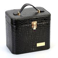 Mulheres Jacaré Cosméticos Saco para cosméticos Maquiagem Bag Box alta qualidade portátil compõem Bags Esteticista Preto Necessair