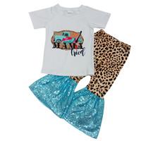 2020 الاطفال بوتيك الملابس الصيف قصيرة الأكمام الجرس أسفل وتتسابق الفتيات الملابس وتتسابق الصيف طفل الفتيات مجموعات بالجملة بالجملة