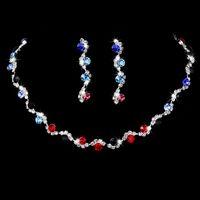 Pendientes de collar Conjunto 925 Plata CrystalLa novia Se casó con traje de dos piezas Accesorios de boda Cadena Diamante Joyería Regalo Garra plateada