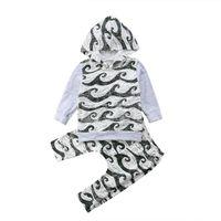 Весна осень Детская одежда костюмы девушки мальчики мультфильм волна с капюшоном с длинным рукавом хлопок футболки + брюки Дети 2 шт. Набор Childern в наряды T14437